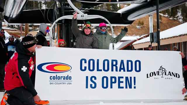 Skiers enjoy fresh snow for opening day at Loveland Ski Area, Thursday, Oct. 29, 2015, in Georgetown, Colo. Loveland and Arapahoe Basin are the first resorts opening today for the full ski season in the United States. (AP Photo/Jack Dempsey)
