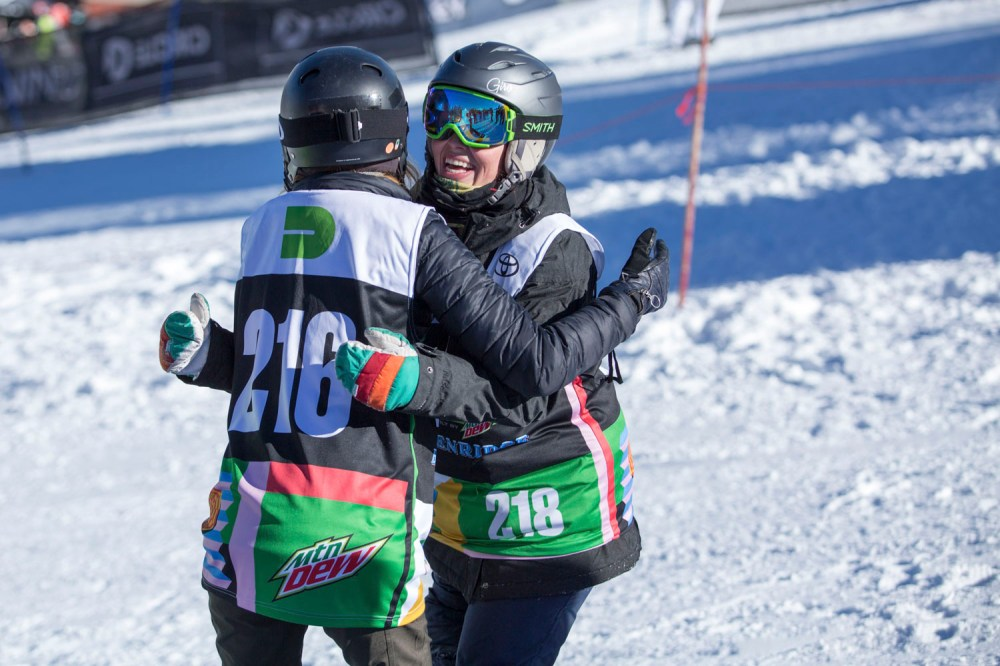 Amy Purdy and Dannae Russel hug it out post race. PHOTO: Andre Durso