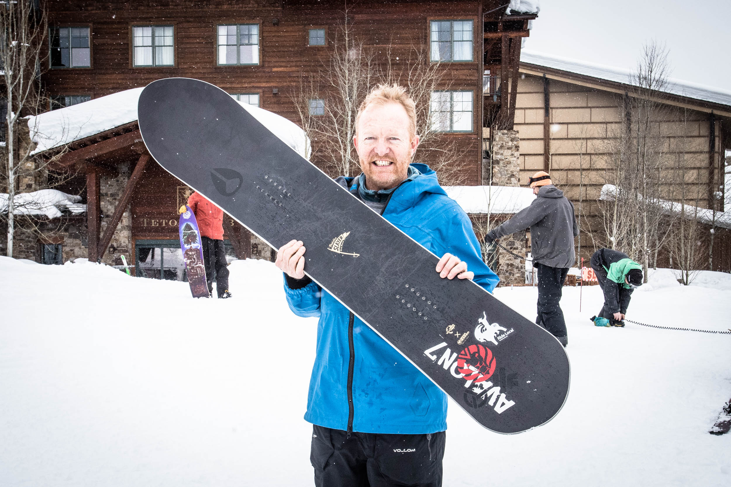 World Boards founder and Powder Slayer designer, Jay Moore, holds the prized Powder Slayer.. Click to view image.