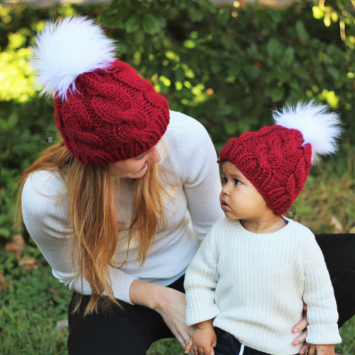 Mommy and me cable hat