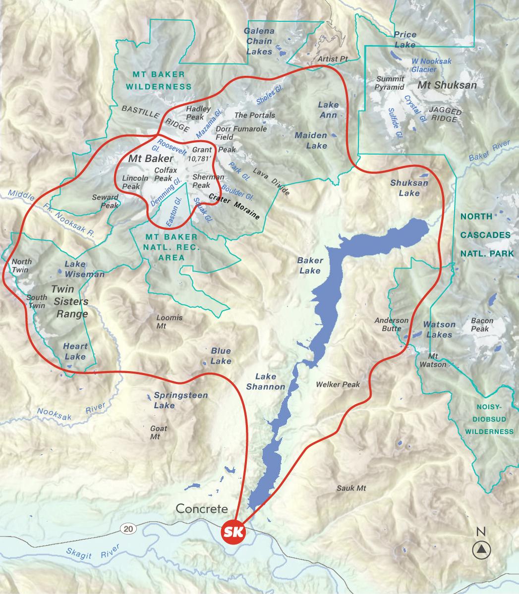 Map of Mt Baker Explorer Scenic Flight