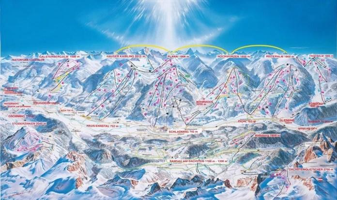 Pistekaart van Schladming-Dachstein: flink wat kilometers als je alle bergen naast elkaar bedwingt!
