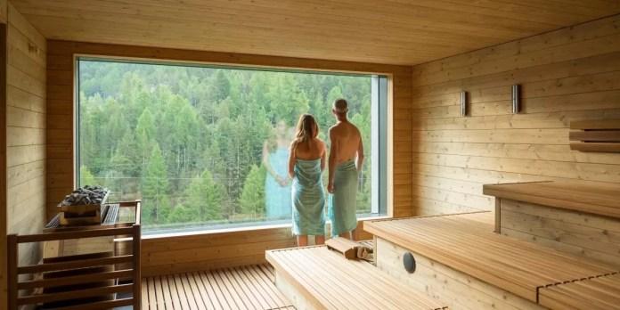 De waanzinnige sauna van het hostel is een must! (Foto: www.saas-fee.ch)