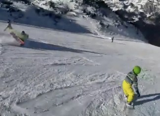 Snowboarder ramt