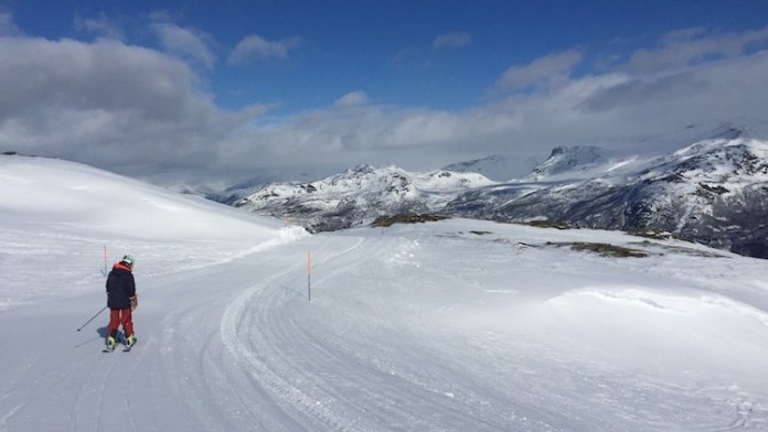 De dalafdaling van 5 kilometer naar Hemsedal Noorwegen