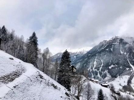 Silvretta Montafon, vanuit de gondel na de 1e lang verwachte sneeuwbui.