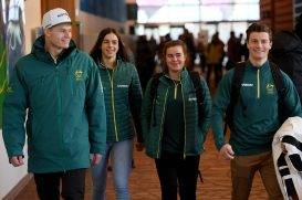 (L-R) Australian Olympic mogul skiers Brodie Summers, Jakara Anthony, Britt Cox and Matt Graham arrive at an Australian team press conference at the Main Press Centre in PyeongChang, South Korea, Tuesday, February 6, 2018. (AAP Image/Dan Himbrechts)