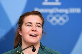 Australian Olympic mogul skier Britt Cox speaks during an Australian team press conference at the Main Press Centre in PyeongChang, South Korea, Tuesday, February 6, 2018. (AAP Image/Dan Himbrechts)