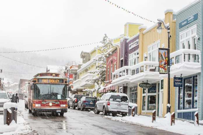trolley on main street on snowy day