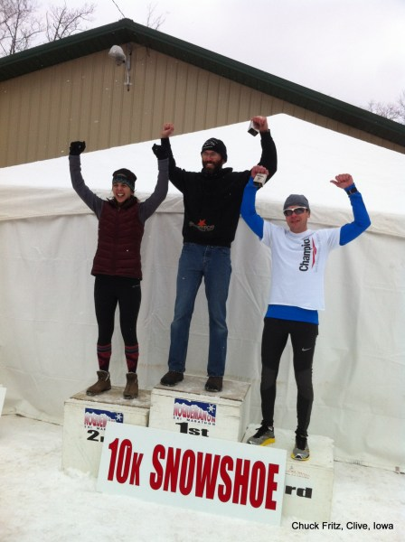 Top Finishers in the 10 Km raced on Sunday: (L-R) Michelle McCarthy (1st woman, 2nd overall), Andrew Grosvenor (overall champion), Neal Collick (3rd overall, 2nd male)