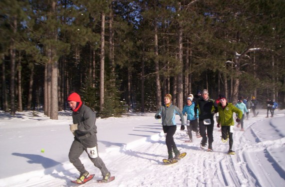 snowshoe racers on the trail at Treehaven Tromp