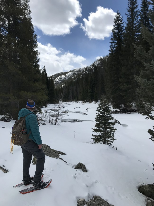 looking at the view with Atlas Apex MTN Snowshoes