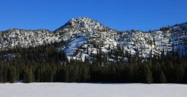 Anthony Lakes snowshoeing: Black Lake with Van Patten Peak in background