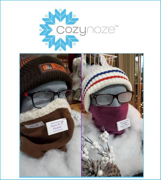 winter face mask: Cozy Noze logo and examples of styles
