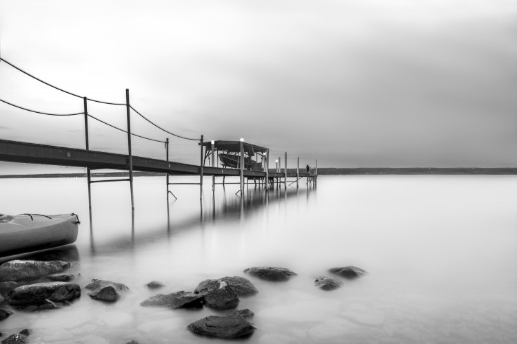 black and white photo of Cayuga Lake NY