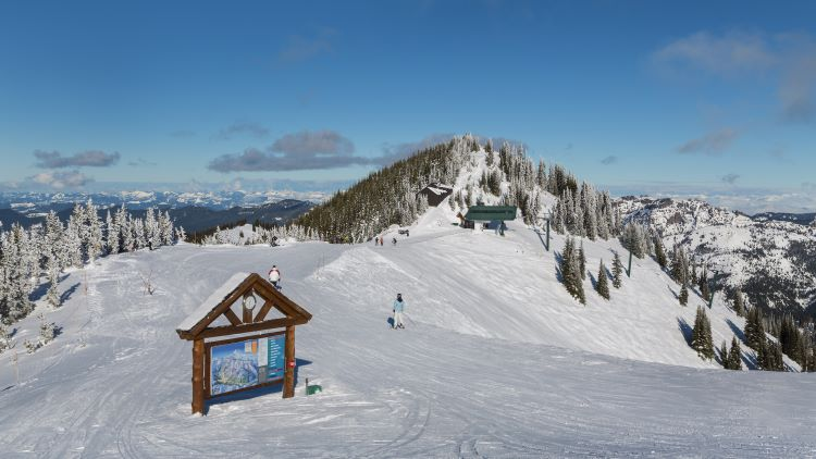 top of mountain at Crystal Mountain Ski Resort