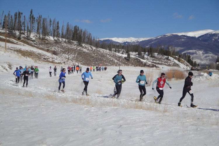 snowshoe racers on the course