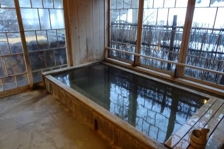 indoor bath at Rankeisou Inn in Sanjo, Japan