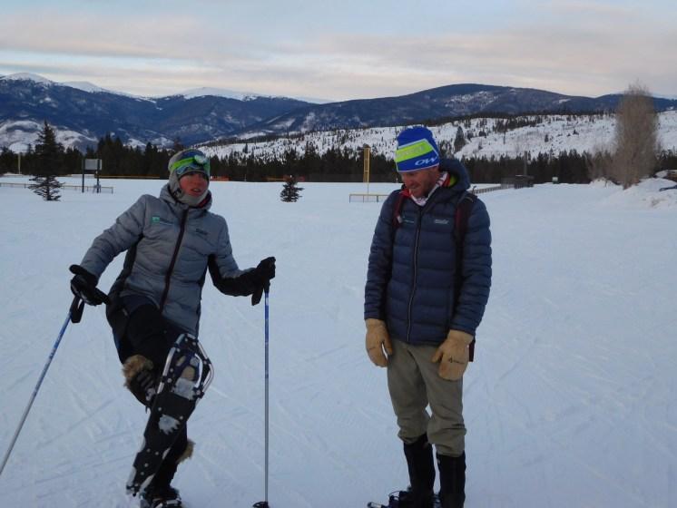 Frisco Adventure Park Snowshoe Tour & Dinner: guide demonstrating snowshoe anatomy