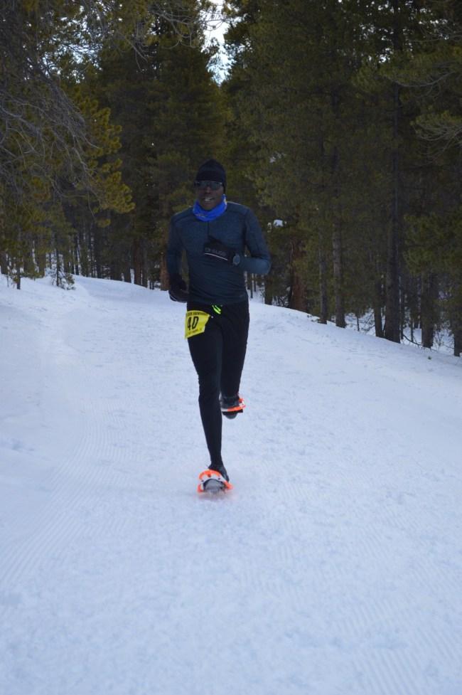 Abraham Kosgei racing at 2020 US National Snowshoe Championships