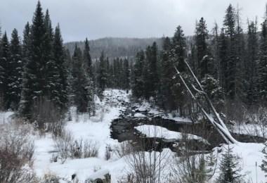 river, snow coming, Monarch Lake