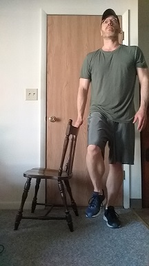 balance exercise: single leg raise demonstration