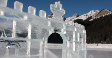 close up of ice castle on Lake Louise in AB