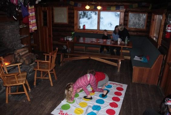 Entertaining the kids inside the Wheeler Hut