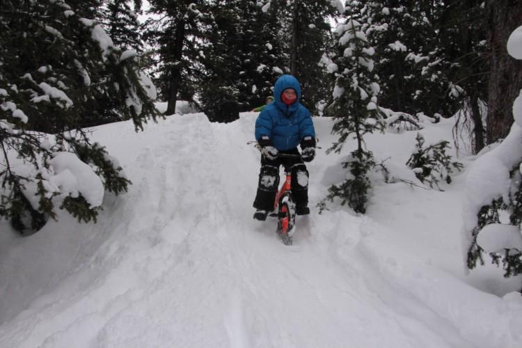 child riding a strider ski bike in the snow