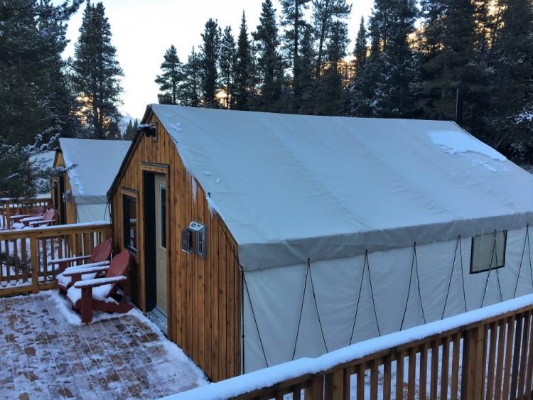 glamping tent at Mount Engadine Lodge in Kananaskis in winter