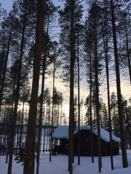 Sunset view from the Red Quill cabin in the woods. Photo by Kim Fuller.