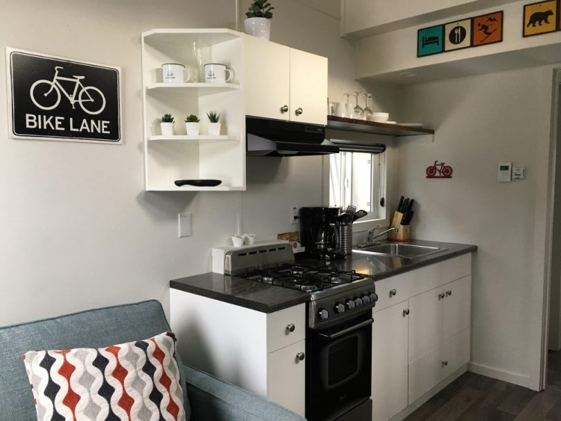 kitchen in tiny home, Fernie BC