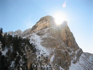 The jagged peaks of the Dolomites rise to over 3,000m