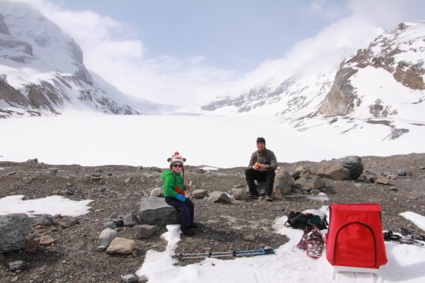 family having lunch near Athabasca Glacier
