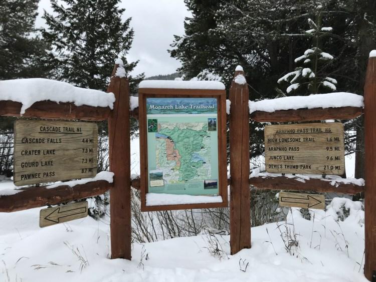 Monarch Lake Trailhead sign, Grand County, CO