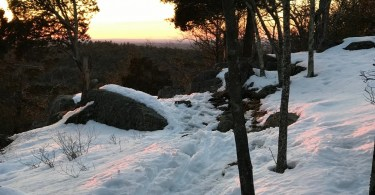 snowshoeing near Boston: sunset on Moose Hill