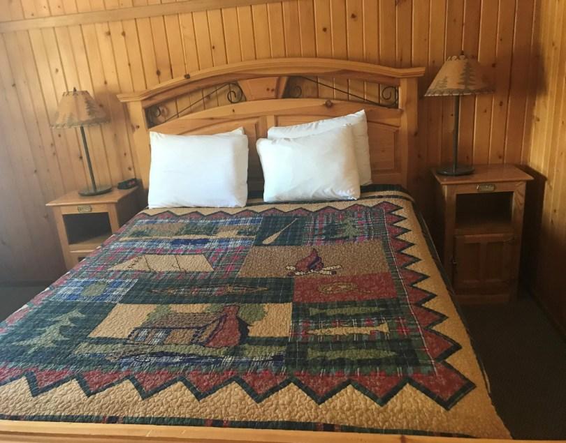 bed at North Shore Lodge, Grand Lake, CO