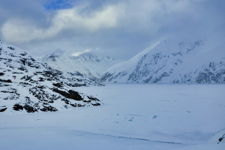 dying glacier: snow covered Portage Lake