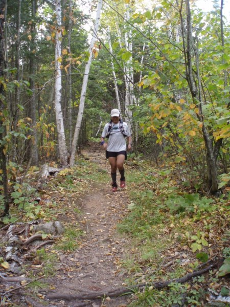 At the Sawtooth 100 Mile Ultra; note running shoes.