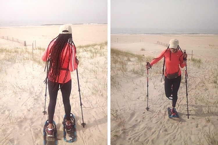 side by side photos of woman using snowshoes on sand dunes