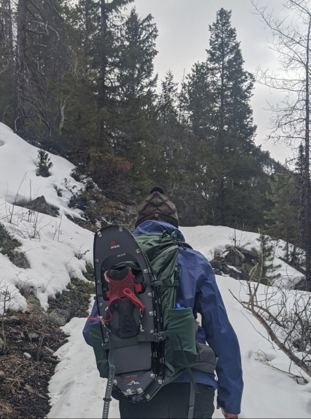 Mystery Ranch Scree 32L with snowshoes attached (while on hike)