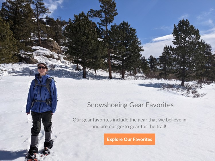 woman on snowshoes with text on photo