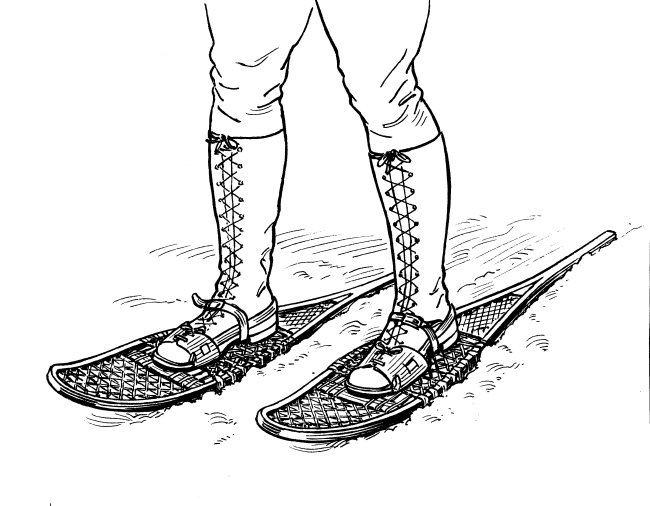 drawing of person wearing traditional snowshoes