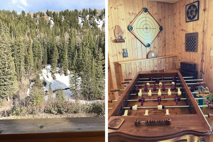 side by side: view of river and trees from balcony and right: close up of foosball table