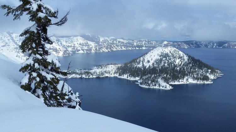 Crater Lake National Park in winter: view of Crater Lake and Wizard Island