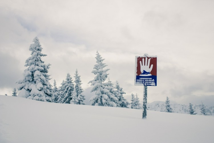 avalanche sign on the mountain