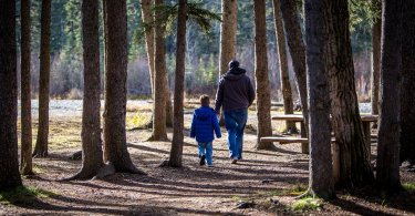 father and son walking surrounded by trees