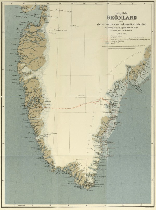 map of first crossing of Greenland by Nansen