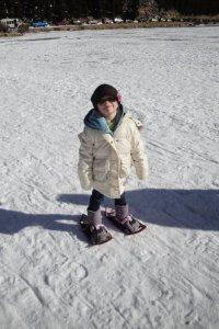 toddler snowshoeing