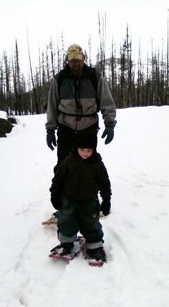 toddler and dad snowshoeing - Amanda DiLenge